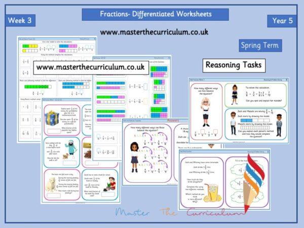 Year 5- Fractions Week 3- Differentiated Sheets