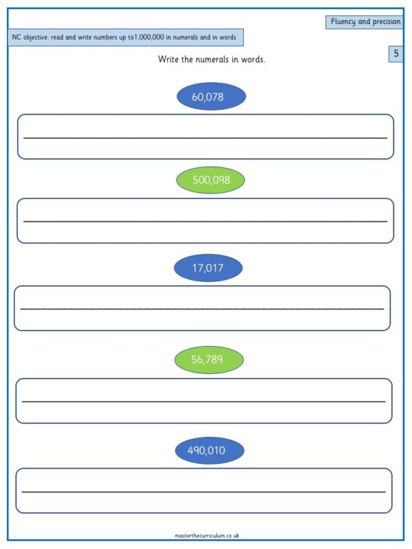 Year 5 Maths Number and Place Value – Read and write numbers R3