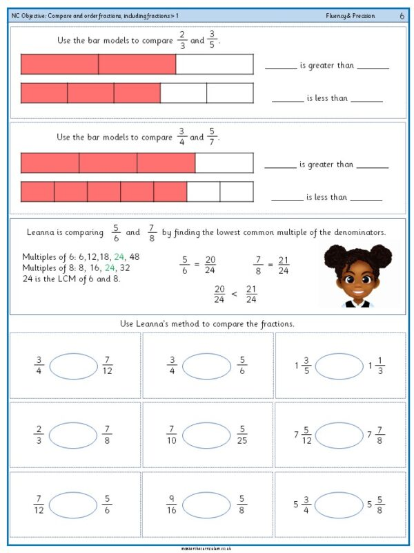 Year 6 (3) - Compare and order fractions, including fractions - 1